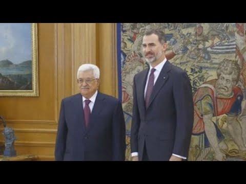 El presidente palestino, recibido por el rey y el presidente del Gobierno en Madrid