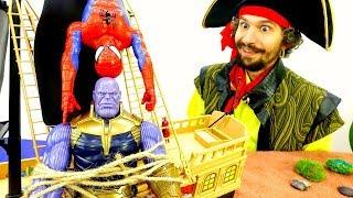 Супергерои и Пираты - Мстители против Таноса! - Видео для детей.