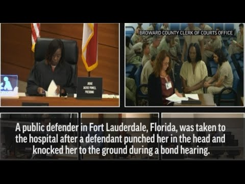 A public defender was taken to the hospital after a defendant in court punched her in the head and knocked her to the ground during a bond court hearing in Fort Lauderdale, Florida. (Mar. 27)