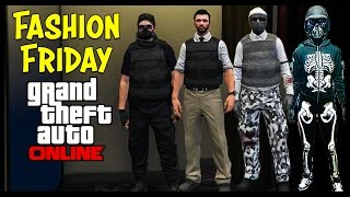 GTA 5 Online FASHION FRIDAY! (FIB Agent, The Cold War, Apocalyptic Cop, The Skeleton & More!)
