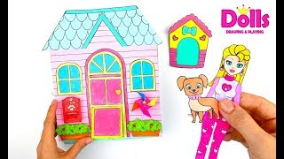 PAPER DOLLS DOLLHOUSE FOR DOLL & DOG PAPERCRAFTS QUIET BOOK IN ALBUM FOR GIRLS