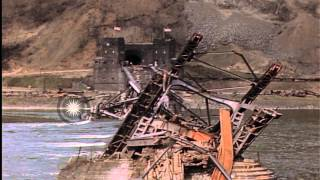 Damaged and twisted Ludendorff Bridge at Remagen, Germany, during World War 2; Am...HD Stock Footage