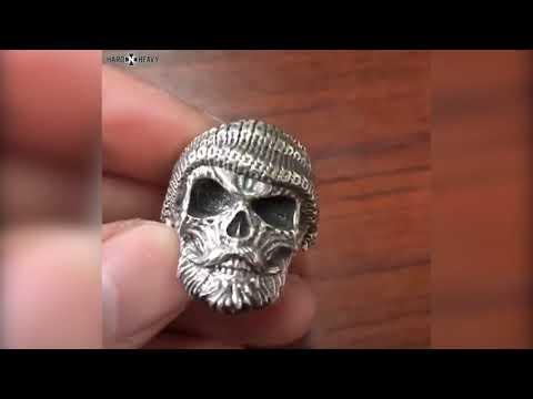 Bearded Skull Ring / 925 Sterling Silver Adjustable Rings / Gothic Vintage Punk Rock Biker Jewelry
