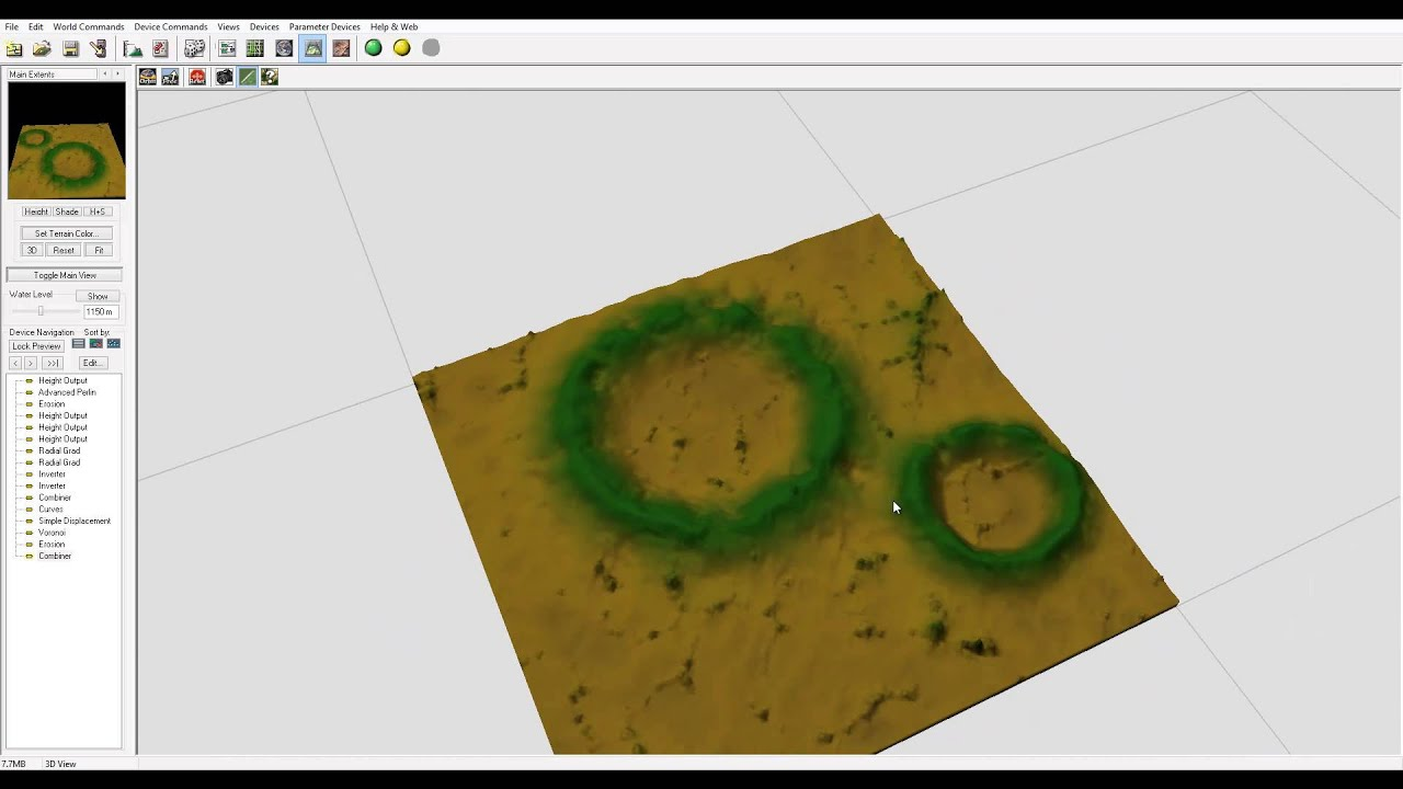 World Machine tutorial, Craters part one, World Machine and Vue workflow