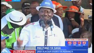 NASA flag bearer Raila Odinga reminds the people of Kitale of the high-cost living caused by Jubilee