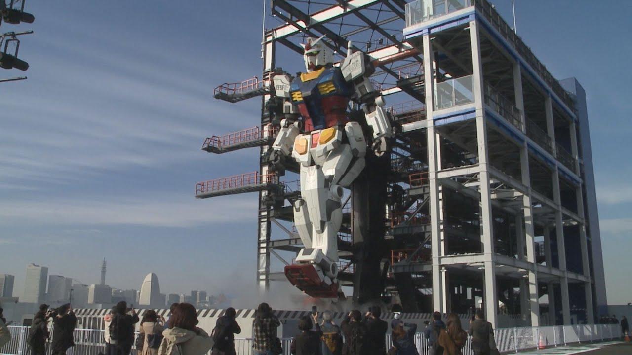 Life-size moving Gundam statue unveiled to media in Yokohama