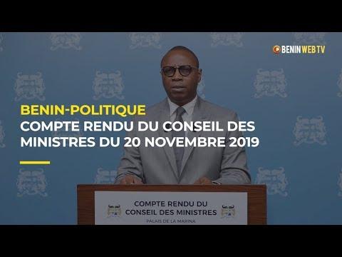 Bénin : Compte rendu du conseil des ministres du mercredi 20 novembre 2019