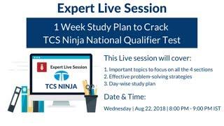 TCS Ninja Preparation - 1 Week Study Plan for TCS Ninja Recruitment