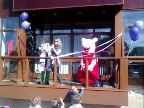 Roke Primary School Fun Day - opening new computer building - Michael as Pepper Pig!!