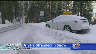 Snow Leaves Hundreds Of Cars Stuck On Highway 38 Near Big Bear