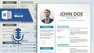 How to Create a Simple and Professional Resume in Microsoft Word   CV Design Tutorial (With Vocal)