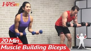 20 Min Home Bicep Workout with Dumbbells - Dumbbell Biceps Workout at Home Exercises Mass by HASfit