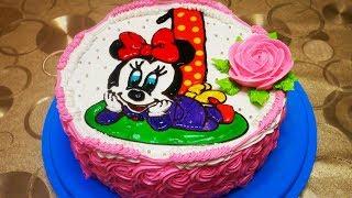 МК по ГЕЛЬ ДЕКОРУ Торт ДЕВОЧКЕ на ГОДИК  украшение тортов в домашних условиях