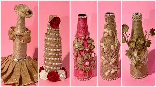 5 Jute Bottles Decoration Ideas/Best Craft Ideas With Jute & Bottles