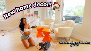 MOVING VLOG 2   NEW HOME DECOR! Unboxing and making vision boards