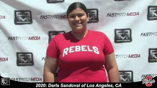 2020 Darla Sandoval Power Hitting Pitcher and First Base Softball Skills Video - Ca Rebels