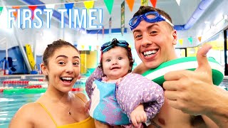 6 MONTH OLD BABY BELLAMY FIRST TIME SWIMMING!!! *MOST ADORABLE VIDEO*