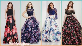 Beautiful Floral Print Silk A-line Evening Maxi Skirts With Lace Blouse/two Piece Prom Dress