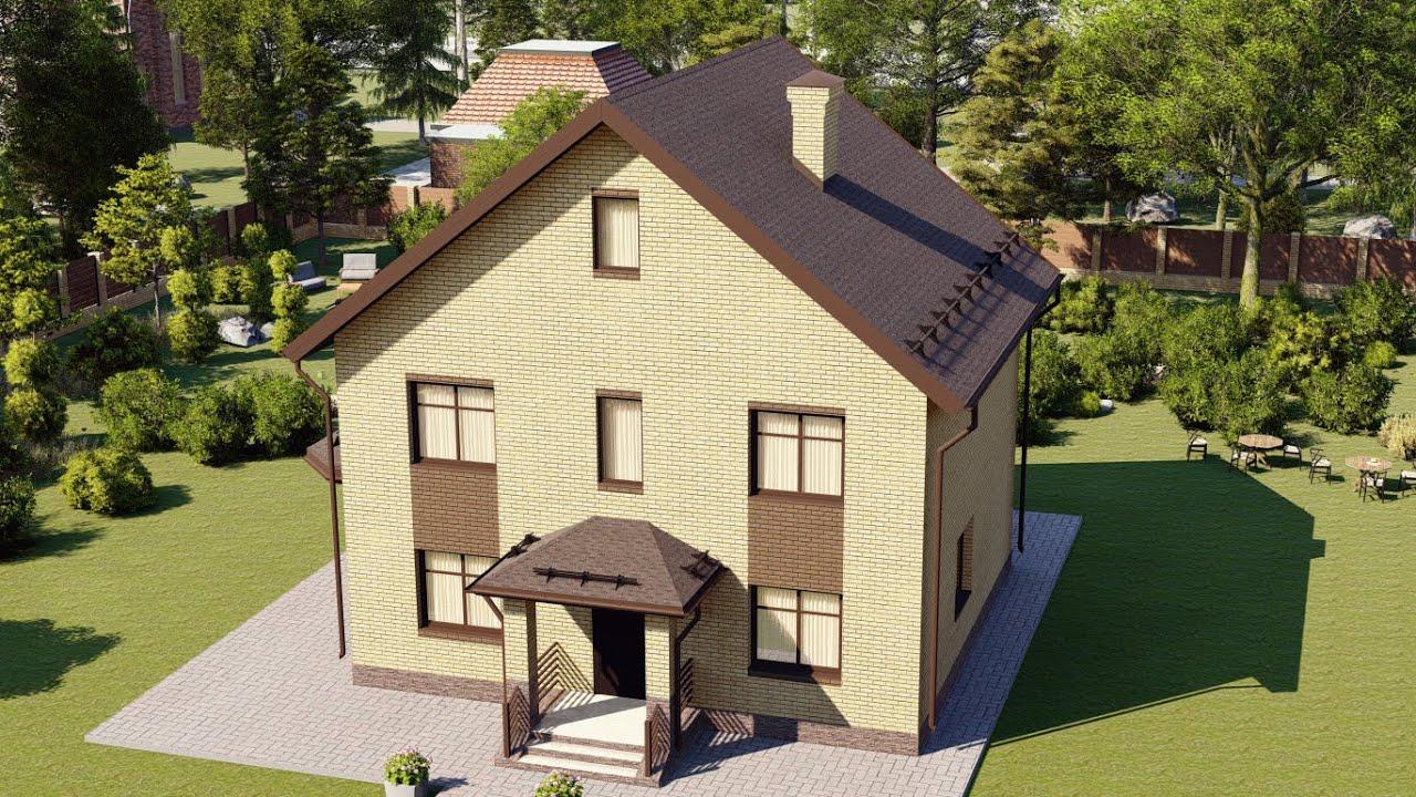 Проект кирпичного дома с мансардой 125 м2