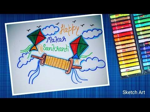 Makar Sankranti Festival Easy Drawing Scenery Of Flying Kite