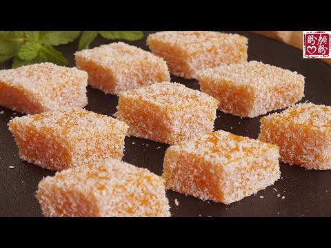, title : 'Coconut pumpkin cake。冰凉椰蓉南瓜糕,软糯Q弹,香甜可口,只需简单几步就能完成。