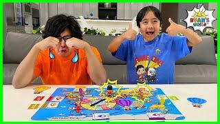 Ryan's World Tour Board Game Ryan နှင့် Daddy နှင့်မိသားစုပျော်ရွှင်မှု !!!