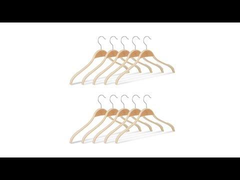 Kleiderbügel Holz + Anti Rutsch Band 10er Set