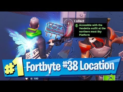Fortnite Fortbyte #38 Location - Accessible with the Vendetta outfit at Northern most Sky Platform (видео)