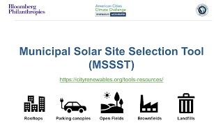 How to Use the Municipal Solar Site Selection Tool (MSSST)