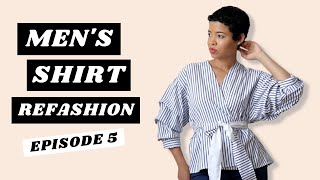 Mens Shirt Refashion | Ruched Sleeves Wrap Top
