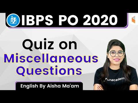 5:00 PM - IBPS PO 2020 | English by Aisha Rasheed | Quiz on Miscellaneous Questions