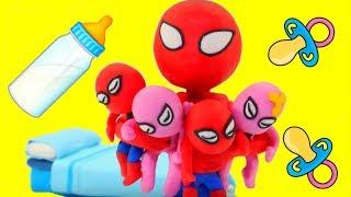 SPIDERMAN BABYSITTING ❤ Hulk & Frozen Elsa Play Doh Cartoons For Kids ❤ Play Doh Stop Motion