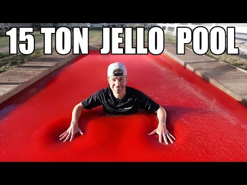 World's LARGEST JELLO POOL- Can you swim in Jello?
