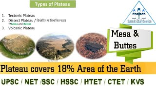 Types of Plateau || Mesa || Buttes