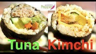 Gimbap (aka Kimbap: 김밥): 🐟Tuna Gimbap & 🌶️Kimchi 🧀Cheese Kimbap (참치 김밥 & 김치 치즈 김밥) - Ep.