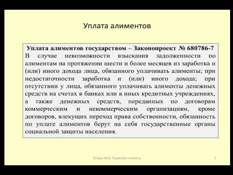Уплата алиментов государством / Payment of alimony by the state