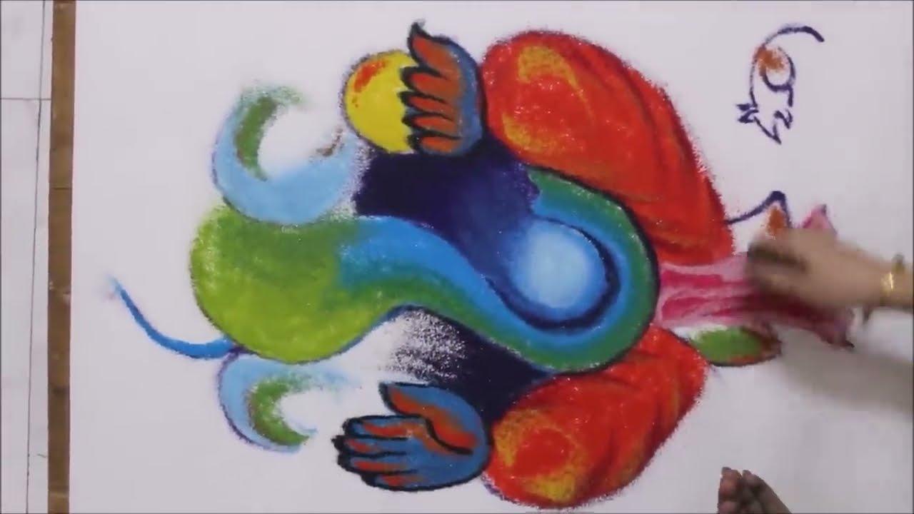 how to draw lord ganesh rangoli design for ganesh chathurthi by shital nivedar