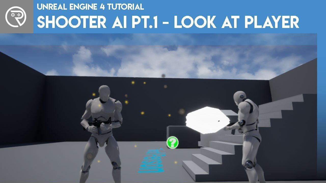 Unreal Engine 4 Tutorial - Shooter AI Pt.1 - Look At Player