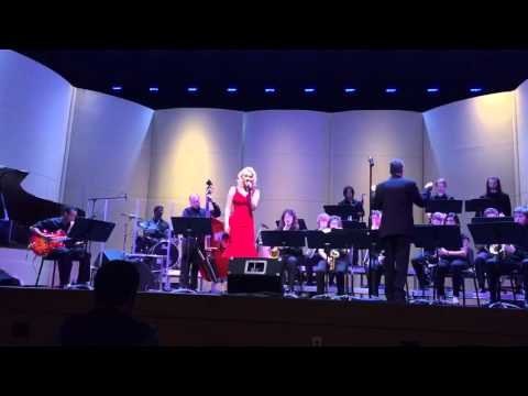 """Roxanne singing """"Fly Me To the Moon"""" with the Longwood University Jazz Ensemble."""