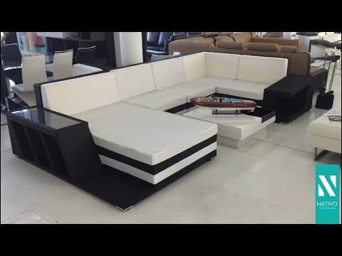 NATIVO mobili Italia - Divano Lounge CAREZZA XXL in rattan con illuminazione a LED
