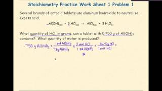 AP Chemistry Stoichiometry Worksheet 1 Problem 1