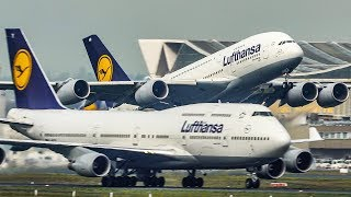 AIRBUS A380 OVERTAKES A BOEING 747 During DEPARTURE   11 BIG PLANE Departures At Frankfurt (4K)