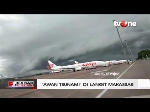 """NGERI!! Awan Berbentuk """"Ombak Tsunami"""" di Langit Makassar (1/1/2019)"""