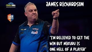 "James Richardson: ""I'm relieved to get the win but Mikuru is one hell of a player"""