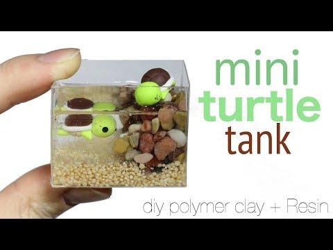 How to DIY Miniature Pet Turtle Tank Polymer Clay/Resin Tutorial