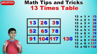 Learn 13 Times Multiplication Table | Easy and fast way to learn | Math Tips and Tricks