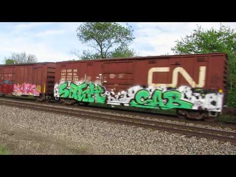 CN 3044, CREX 1503 Eastbound mixed freight train by Vicksburg, MI