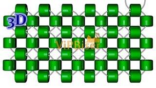 Монастырское плетение крестиком бисером двумя иглами.3D Урок