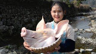 猪头肉只会卤着吃?农村姑娘教你一种新做法,你绝对没吃过!