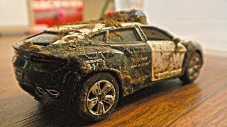 Dirty Police Toy Cars Getting Washed - Car Wash Video for Kids